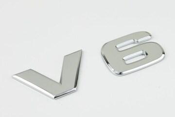 高品質ベンツ風V6エンブレムtype4ラージタイプ
