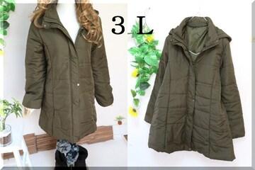 大きいサイズ☆3Lカーキ☆前ジップ&ボタン☆フード付中綿ロングコート