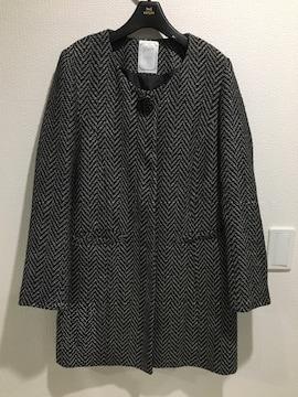 moery モエリー ノーカラー ツイード コート 黒 ブラック ビジュー付 アウター ジャケット