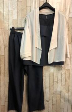 新品☆21号3L4L大きいサイズ紺系フォーアルパンツドレス☆s892