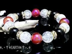 天然石★黒瑪瑙&金紅玉髄&爆裂水晶AAA数珠