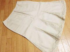 ケティ/KETTY 花柄レース麻素材膝丈フレアスカート