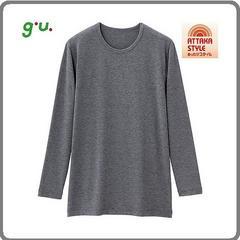 新品GU男性用防寒インナーシャツMサイズグレー9分袖