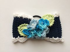 ハンドメイド ヘアゴム 大きめ リボン 紫陽花♪ ブルーの紫陽花