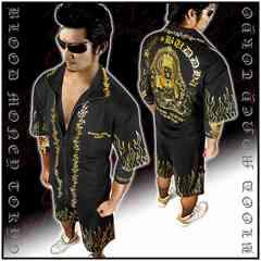 送料無料ヤクザオラオラ系半袖セットアップジャージ上下服/大日如来13018黒-XL