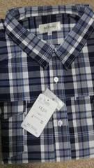 5LB サイズ紳士的!紺×白×青のチェック柄!長袖シャツ!新品!