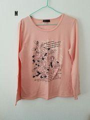 オレンジに花模様、長袖Tシャツ