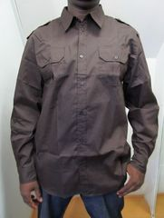 X50)GBミリタリーシャツ長袖キングサイズ茶