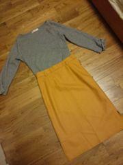【アプワイザーリッシェ、ジャスグリッティー】袖リボンニット&スカート2点まとめ売り