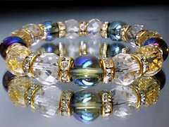 ブルーオーラ&64面カット水晶10ミリ金色ゴ-ルドロンデル