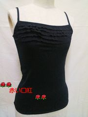 SS〜S・細身size異素材・胸元チュールレース・フリル・キャミソールブラック