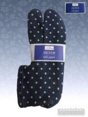 【和の志】ニットデニム系素材ストレッチ足袋◇ネイビー系水玉柄