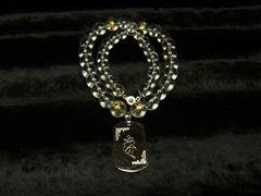 梵字彫ドッグタグ×金彫梵字×水晶クリスタル数珠ネックレス!!オーダーメイド
