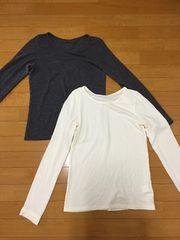 無地ロンTシャツ グレー、白 セット M