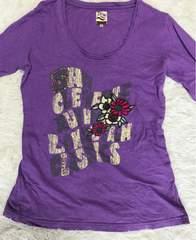 レディース ダメージ加工七分袖Tシャツ Sサイズ