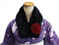 和装着物&洋服に 花飾り付フェイクファーマフラー(襟巻き)ブラック(黒)