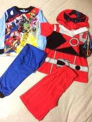 新品格安!《キューレンジャー》光る長袖&変身半袖パジャマ110cm