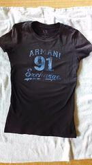アルマーニexchangeロゴ入ダメージTシャツxs