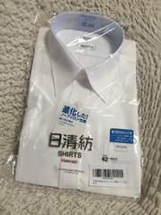 日清紡ノーアイロン半袖ワイシャツ 衿回り42 綿100% 白