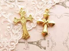 大きめ十字架チャーム2個ゴールド