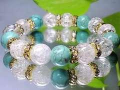 ターコイズ&クラック爆裂水晶10ミリ金色ロンデル人気数珠