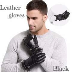 手袋 メンズ 革 レザー ファー付き スマホ手袋 ブラック