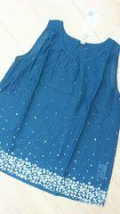 新品タグつき*ノースリーブプルオーバーブラウス 裾に小花柄 フリーサイズ ネイビー