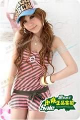 【L】cuteボーダー*ワンピース+ビキニ 3点セット 水着*ピンク pink 即決