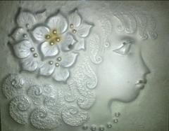 彫金 岡部昭 光風会名誉会員『女の顔』彫金工芸 真作保証