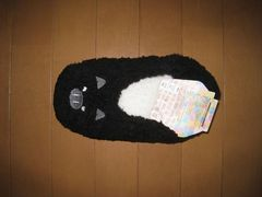 新品★ふわふわ ルームシューズ♪黒 ぶた★23〜25cm