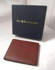 確実本物保証 ポロラルフローレン レザー製2つ折札入財布