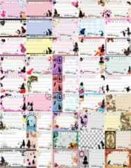 92(45) 宛名シールセット◎F-アリス.ウサギ.ネコなど◎種類豊富*45種45枚♪