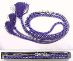 お振袖に 藤納戸色 飾りのついた 正絹 帯締め わけあり品