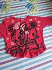 ミッキーミニー七分袖Tシャツ☆100フリル付き