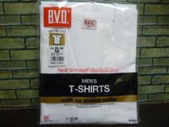 c)送料込(M 白)BVD★U首半袖Tシャツ G014TS 綿100% 半袖U首
