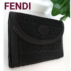 正規 FENDI がま口 レザー 財布 ズッカ 黒 レディース メンズ