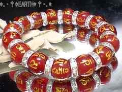 天然石★12ミリ六字真言梵字赤瑪瑙レッドアゲートAAA数珠