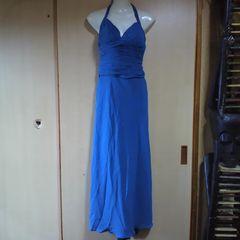 Chicas高級ブルー ビーズ ホルターロングドレス ストール付き