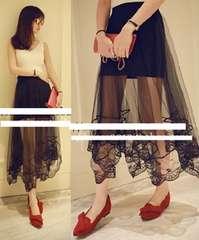 刺繍レース付*シースルーレイヤード*アシメ*Aラインフレア*ふんわりロングスカート*黒