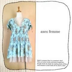 ((axes femme/アクシーズ))編み上げ&レース&フリルの贅沢ドレスワンピース