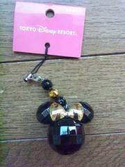 ディズニー ミニーマウス ストラップ 黒×金 TDL TDS