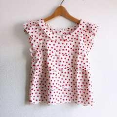 ◆allamanda/アラマンダ◆リンゴ柄フリルシャツ★袖フリル*アップル♪INGNI好