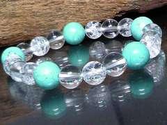 今月の特価ターコイズ水晶&クラック水晶数珠