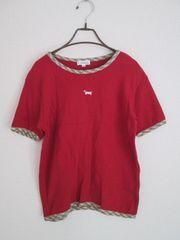 即決/Sanmi Planning/チェック地丸首犬刺繍綿Tシャツ/赤/M