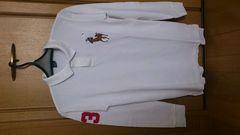 激安72%オフラルフローレン、ビックポロ、ポロシャツ、長袖(美品、白、L)