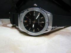 自動巻 腕時計 カレンダー付き ブラックラバー /ウブロ好きに