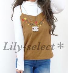 new://限定1☆whiteリブtops*camel花刺繍キャミ2点set 0462