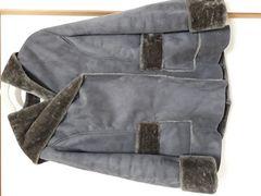新品未着用 内側がファーで温かコート グレージュ×ブラウン