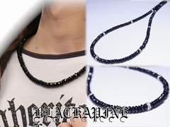 魔除け効果もアリ!!ブラックスピネル8ミリ数珠ネックレス!!漆黒石