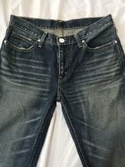 リーバイス517:股浅細身ユーズド加工裾広濃紺デニム古着(平W約40